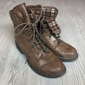 Born Concept Brown Combat Boots Womens 10 S201